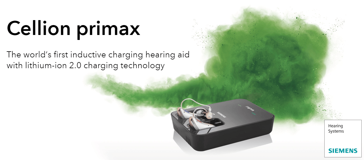 Cellion primax. The world's first inductive charging hearing aid with lithium-ion 2.0 charging technolog
